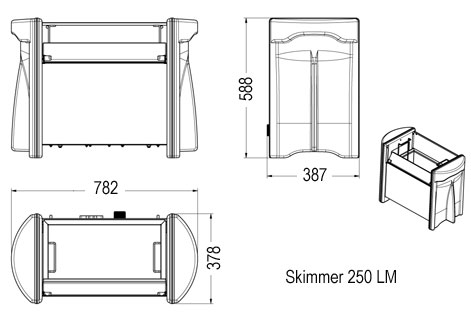 Skimmer 250 LM dimensions